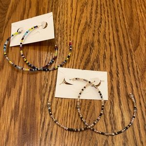 Multicolored large loop beaded earrings
